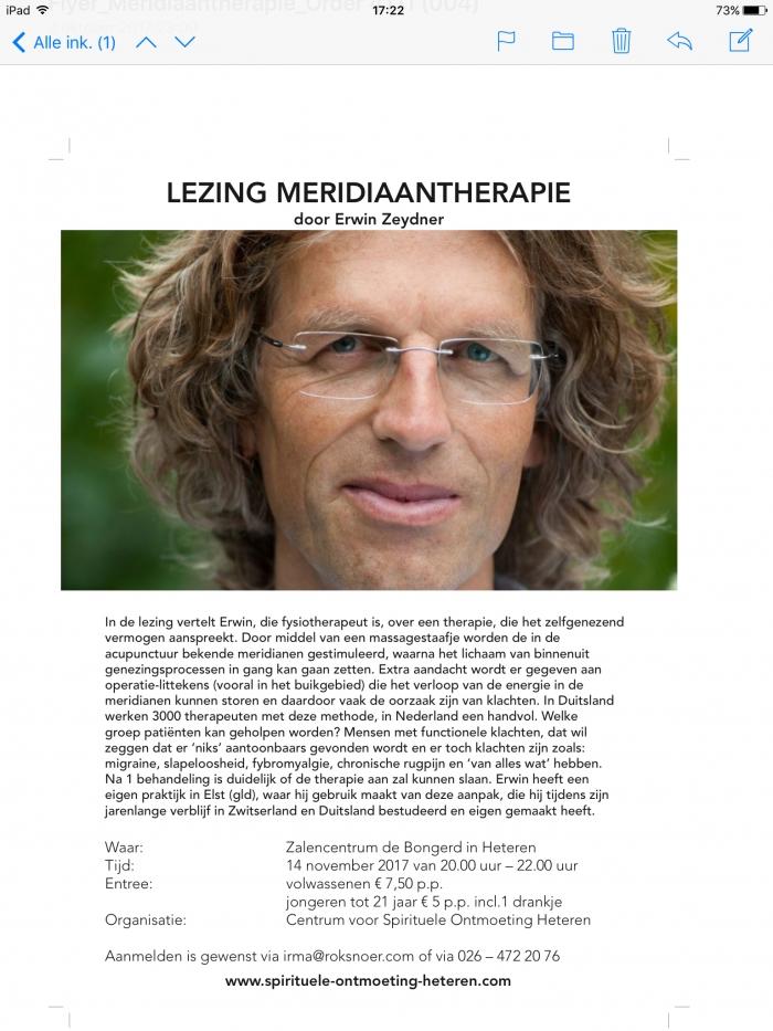 Lezing meridiaantherapie