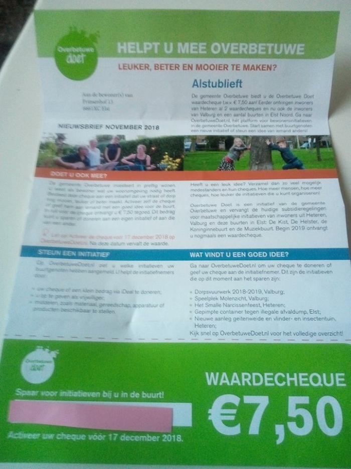 Binnenkort weer een cheque in de bus deel 1 Valburg